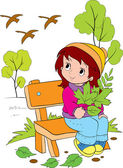 Girl sitting on the bench — Stock Vector