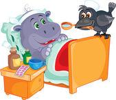 Patient hippo treats crow — ストックベクタ