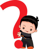 Boy holding a question mark — Stock Vector