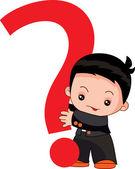Chłopiec trzyma znak zapytania — Wektor stockowy