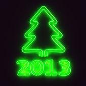 Green neon tree 2013 — Stock Photo