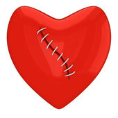 Sewed red heart — Stock Photo
