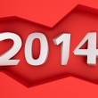 2014 on the red wall — Stock Photo