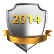 Shield 2014 with ribbon — Stock Photo