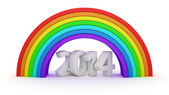 2014 under rainbow — Stock Photo