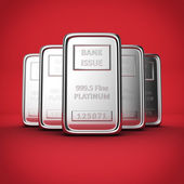 Platinum ingots on red — Stock Photo