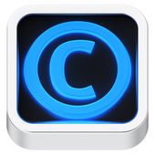 Copyright luminous icon — Stock Photo