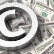 Copyright sign on the dollar background — Stock Photo
