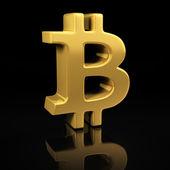 Gold Bitcoin on black — Stock Photo