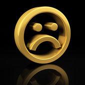 Gold sad smile on black — Stock Photo