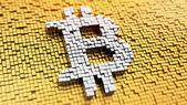 Pixelated Bitcoin — Stock Photo