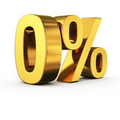 Golden 0 percent — Stock Photo