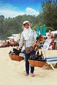 Thai woman selling souvenirs — Stock Photo