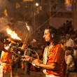 Ganga Aarti ritual — Stock Photo