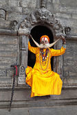 A sadhu at Pashupatinath Temple — 图库照片