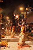 Ganga Aarti ritual — Stock Photo
