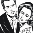 Stockfoto: Vintage Illustration ,isolated romantic couple of lover