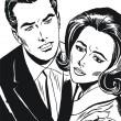 复古插画、 孤立浪漫情侣的情人 — 图库照片