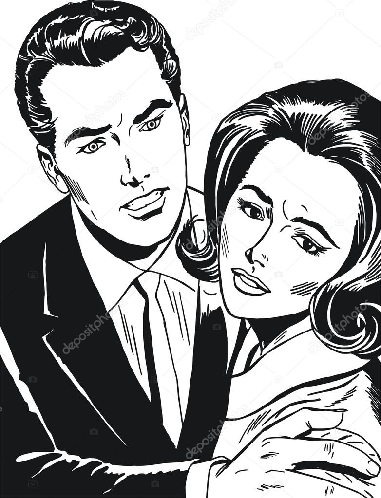 Vintage Illustration ,isolated romantic couple of lover — Stock Photo #12717236