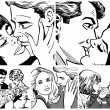 Illustration showing couples in love — Foto Stock