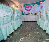 Wedding hall at restaurant with balloons — Stock Photo