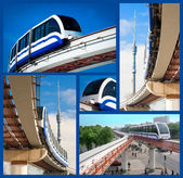 Collage monorail in Moscow — Stock Photo