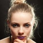 Close up portrait of a beautiful female. — Stock Photo