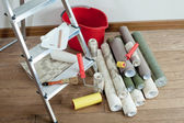 Decorative finishing of walls of the apartment. tools — Stock Photo