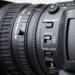 Close up of professional video camera lens — Stock Photo