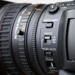 Close up of professional video camera lens — Foto de Stock