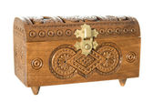 Wooden casket decorated with carvings — Stock Photo