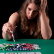 Woman playinf poker — Stock Photo
