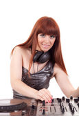 Beautiful woman - DJ — Stock Photo