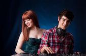Woman and man - DJ — Stock Photo