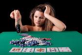 Woman playing poke — Stock Photo