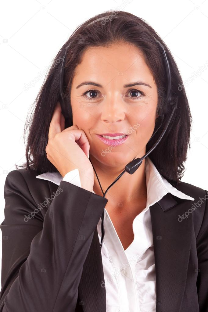 Friendly young beautiful telephone operator at work  Stock Photo #15546217