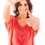 Beautiful woman making framing key gesture — Stock Photo #23241614