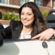 Business woman in sports car — Foto de Stock