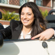 Stock Photo: Business womin sports car