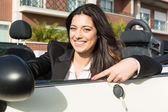 Business woman in sports car — Stok fotoğraf