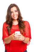 Teenager with cellphone — Stock Photo