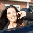 Business woman in sports car — Stock Photo