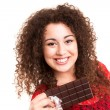 Beautiful woman eating a chocolate — Stock Photo