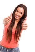 Woman expressing positivity — Stock Photo
