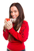 Woman holding a cup — Stock Photo