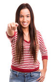 Woman pointing — Stockfoto