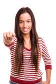 Woman pointing — Stock Photo