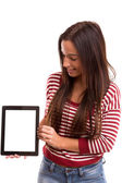 Woman presenting product — Stock Photo