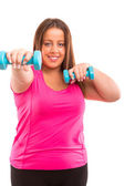 Large Woman exercising — Stock Photo