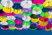 Umbrellas coloring the sky — Stock Photo